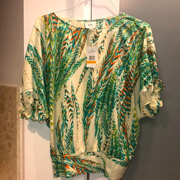eci New York Teal Blouse Size Small